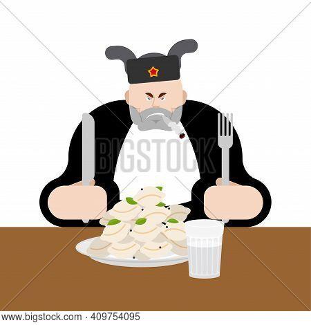 Lunch In Russia. Angry Russian Man Eats Dumplings. Traditional Russian Food