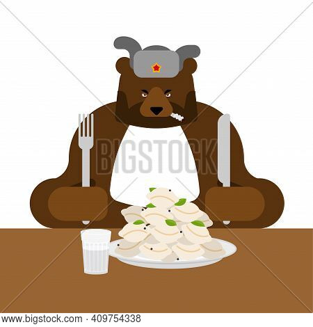 Lunch In Russia. Angry Russian Bear Eats Dumplings. Traditional Russian Food