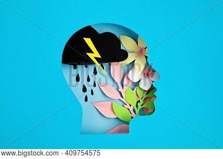 Papercut Head, Adult Bipolar Disorder Concept. Mental Health Problems, Psychology, Mental Illness Id