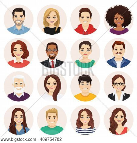 Smiling People Avatar Set. Different Men And Women Characters Collection. Isolated Vector Illustrati