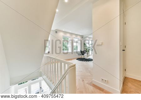 Interior Of Luxurious And Beautiful Hallway With Stairs