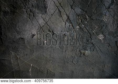 Dark Grunge Wall Texture. Grungy Vintage Wall Stone Texture Background. Retro Vintage Worn Wall Wall