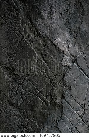 Dark Grunge Wall Texture. Grungy Vintage Wall Stone Texture Background. Retro Vintage Worn Wall Wall