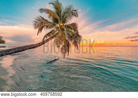 Tropical Sunset Beach Background As Summer Landscape Panorama With Beach Swing Or Hammock And White