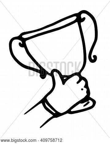 Gold Doodle Hand Winner Cup On White Background. Winner Award. Win Prize. Outline Symbol. Sport Abst