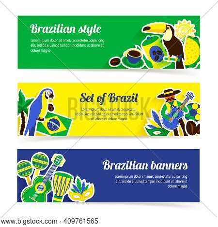 Brazil Horizontal Banner Set With Brazilian Music Nature And Travel Symbols Isolated Vector Illustra