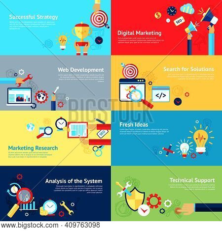 Internet Design Concept Set With Successful Strategy Digital Marketing Web Development Icons Isolate