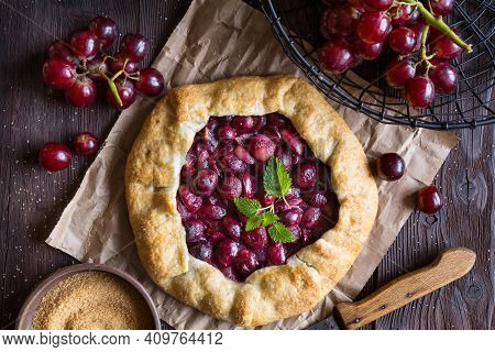 Traditional Homemade Galette Pie With Red Grapes