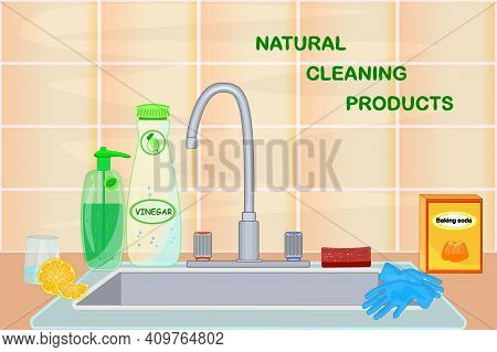 Kitchen Sink With Natural Cleaning Products. Vinegar, Lemon, Baking Soda. Cuisine With Faucet, Dish