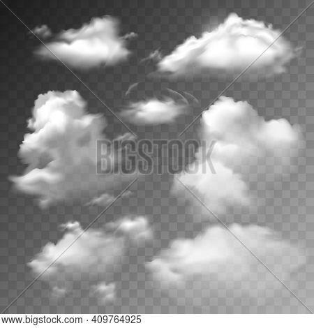 Transparent Clouds Spring Sunny Weather Cloudscape Realistic Set Vector Illustration