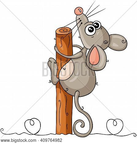 Scalable Vectorial Representing A Funny Mouse Looking Up Clinging To Tree Trunk, Element For Design,