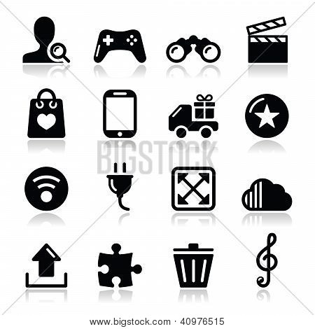Web internet icons set - vector