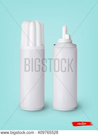 Whipped Cream Bottle Cans On Blue Background. 3d Realistic Vector Illustration Of Sweet Dairy Produc