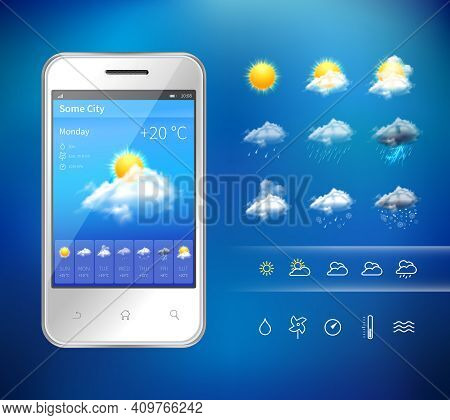 Realistic Mobile Phone With Weather Forecast Widget Mobile Application Program Layout Template Vecto