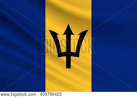 Flag Of Barbados. Fabric Texture Of The Flag Of Barbados.