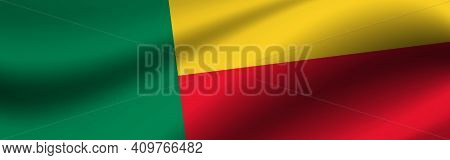 Banner With The Flag Of Benin. Fabric Texture Of The Flag Of Benin.