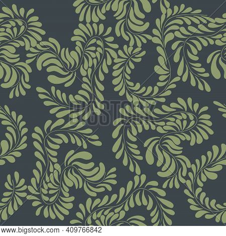 Contrasting Seamless Pattern Of Thin Twigs With Leaves