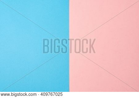 Background Of Two Vertical Rectangles Blue And Pink. Sheets Of Blank Blue And Pink Paper Split Verti