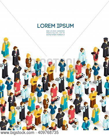 Professions Poster With Isometric Avatars Of Engineer Handyman Waiter Painter Vector Illustration