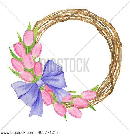 Wreath Of Pink Tulips With Violet Bow Isolated On White Hand-drawn Watercolor Illustration