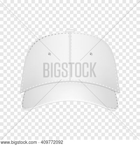 Baseball Cap White Template. Design Template Closeup In Vector. Realistic Front View White Baseball