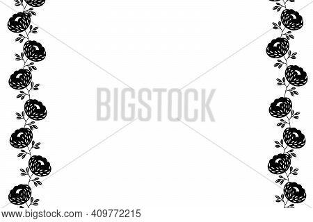 Floral Frame Based On Traditional Folk Art Ornaments On White Background. Ornate Border With Black F