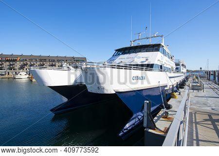 Boston - Oct. 14, 2020: Mbta Catamaran Boat Cetacea Docked At Long Wharf In Boston Harbor, City Cent