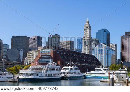 Boston - Oct. 14, 2020: Mbta Boats Docked At Long Wharf In Boston Harbor With Boston Skyline And Cus
