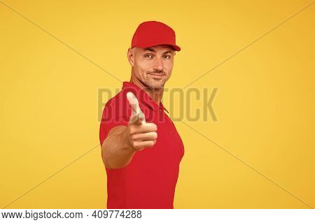 Ad Campaign. Handsome Man Point Finger Straight Yellow Background. Advertising Product Or Service. A