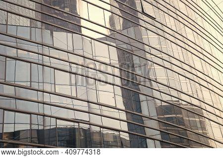 Mirror Surface. Skyscraper Modern City Architecture. Modern Building Architecture. Sky Reflects Mirr