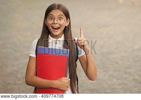 Got Idea. Happy Kid Hold Books Keeping Finger Raised Outdoors. Creative And Innovative Idea. Back To