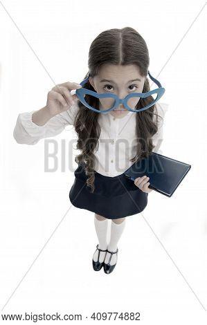 Are You Kidding Me. Schoolgirl Heart Shaped Glasses Isolated White Background. Child Girl School Uni