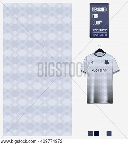 Fabric Pattern Design. Geometric Pattern On Gray Background For Soccer Jersey, Football Kit, Bicycle