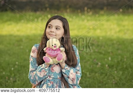 Love You. Happy Child Cuddle Teddy Bear Outdoors. Valentines Gift. Valentines Day. Childhood Games A