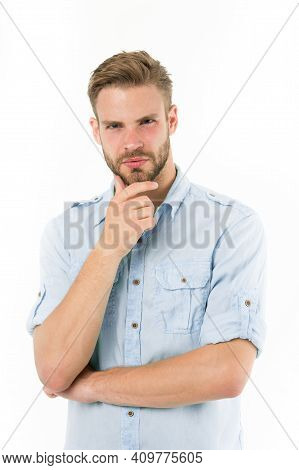 Close To Solution. Man With Bristle Serious Face Thinking White Background. Guy Thoughtful Touches H
