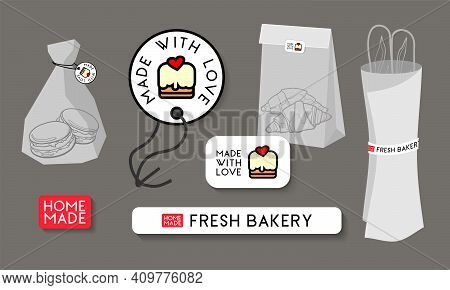 Stickers And Tags Set For Bakery Packaging. Modern Design For Bakery Shop, Cafe And Restaurant.