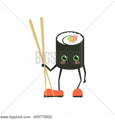 Funny Sushi Characters. Funny Sushi With Cute Faces. Happy Sushi Characters. Asian Food, Vector Illu