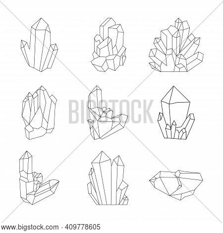 Crystals Set Vector Illustration In Line Style
