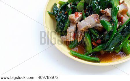 Stir Fried Chinese Kale With Crispy Pork Belly