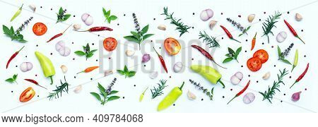 Cooking Ingredients, Various Fresh Vegetables And Herbs On White Background. Healthy Eating Concept