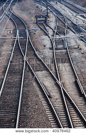 many railway tracks leading to different ways poster