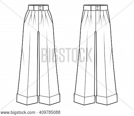 Set Of Pants Oxford Tailored Technical Fashion Illustration With Normal Low Waist, High Rise, Single