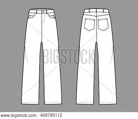 Baggy Jeans Denim Pants Technical Fashion Illustration With Low Waist, Rise, 5 Pockets, Rivets, Belt