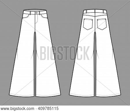 Jeans Baggy Wide Pants Denim Technical Fashion Illustration With Full Length, Low Waist, Rise, 5 Poc