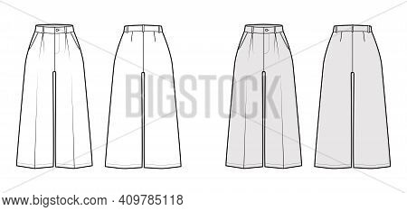 Pants Capri Technical Fashion Illustration With Normal Waist, High Rise, Single Pleat, Mid-calf Leng