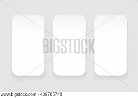 White Flat Rectangles. Rectangles With Round Corners. Stock Image. Eps 10.