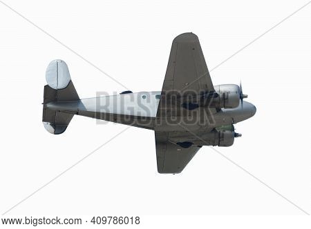 Retro Airplane In Silver Color Isolated On White