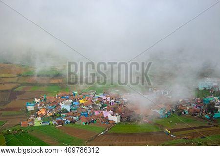 Poombarai Village View Over The Misty Clouds. Beautiful Poombarai Village Near Kodaikanal, Tamilnadu