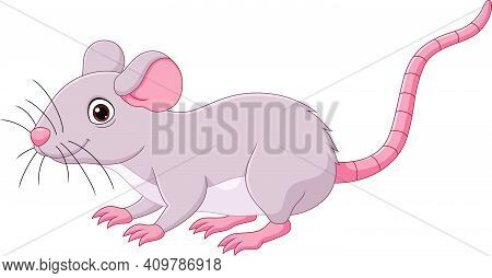 Vector Illustration Of Cartoon Cute Mouse On White Background