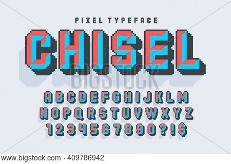 Pixel Vector Alphabet Design, Stylized Like In 8-bit Games. Chisel Crafted.